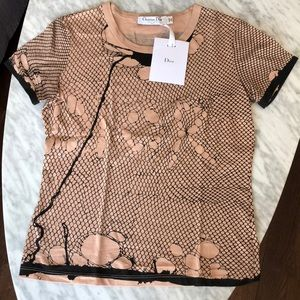 NWT! Authentic Dior fishnet effect t-shirt